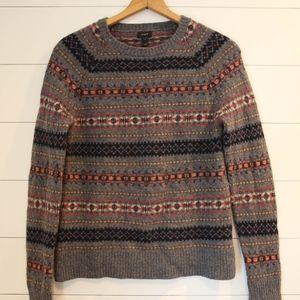 J Crew 100% Lambs Wool Fair Isle Sweater